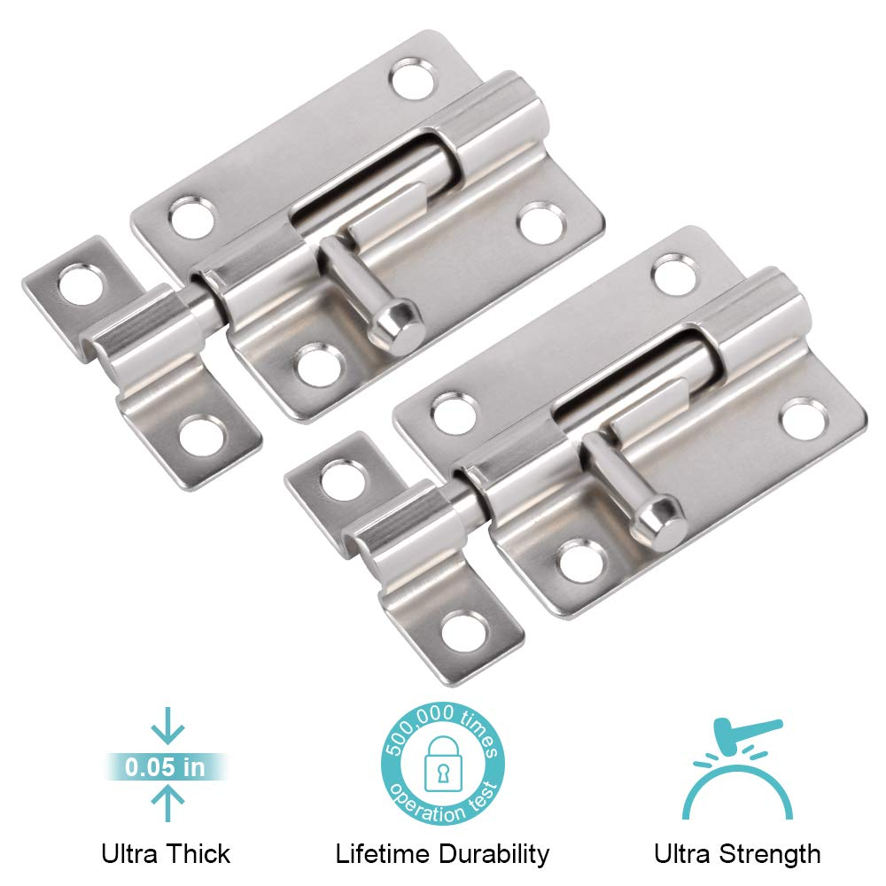 Door Security Slide Latch Lock, 3 in Barrel Bolt with Solid Heavy Duty Steel to Keep You Safe and Private, Brushed Nickle Finish Door Latch Sliding Lock with 12 Screws (Silver)