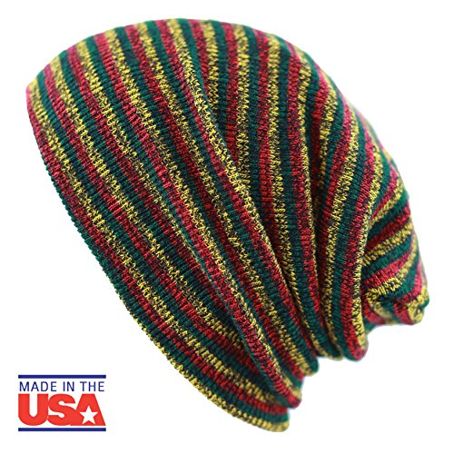 THE HAT DEPOT Fashion Junior Youth Unisex Soft Warm Stripe Knit Beanie Winter Hat Made In USA (Rasta)