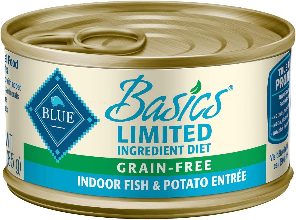 Blue Buffalo Basics Limited Ingredient Diet, Grain Free Natural Adult Wet Cat Food, Indoor Fish 3-oz cans (pack of 24)