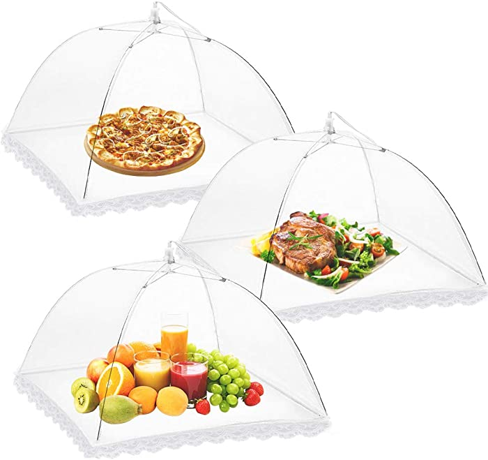 Onarway 3 Pack Food Serving Tents 14 Inch Pop-Up Encrypted Mesh Food Covers, Keep Flies Bugs Mosquitoes Away, Fine Net Screen Umbrella for Outdoors, Parties Picnics, BBQs, Reusable and Collapsible