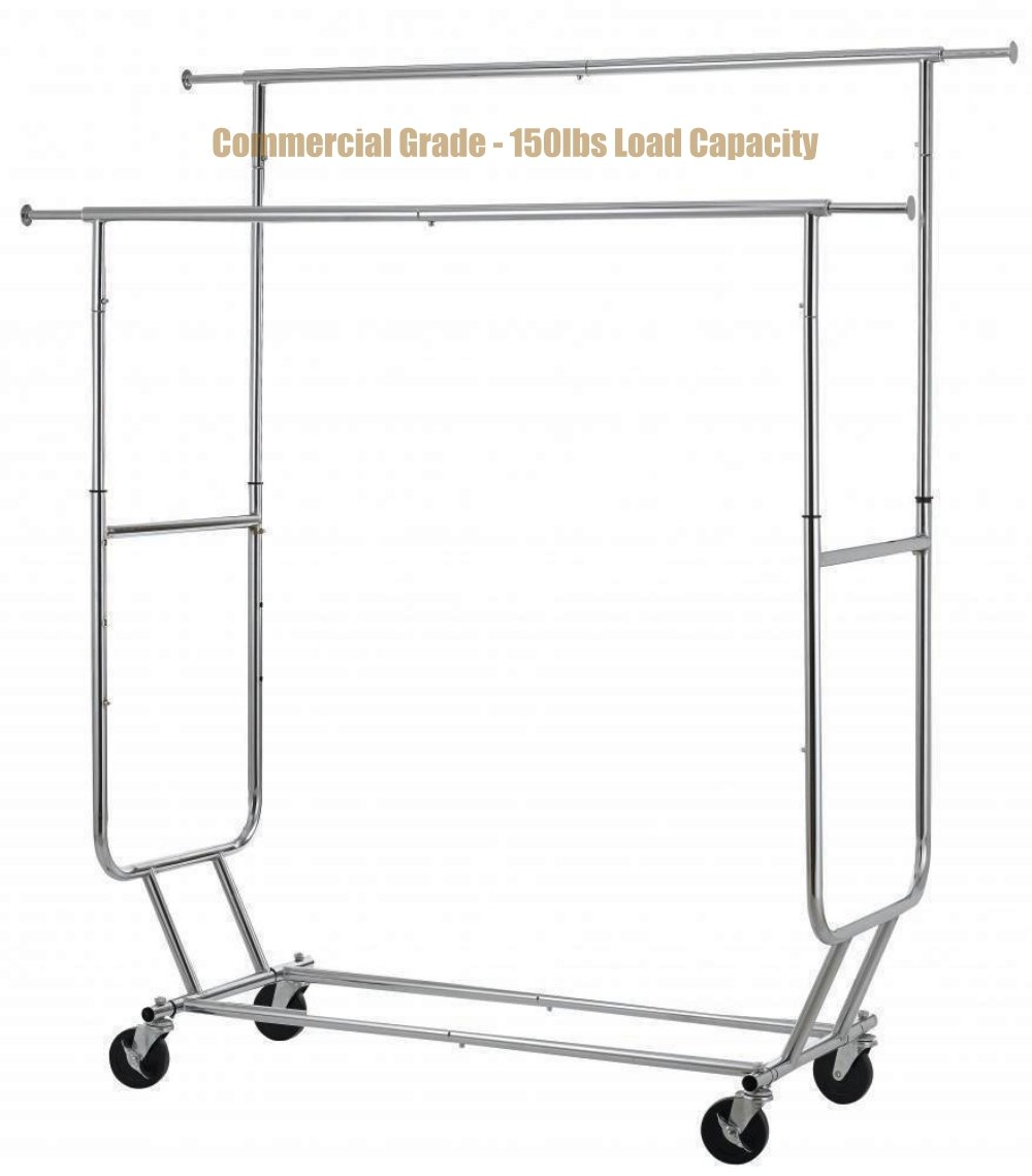 New Commercial Grade Collapsible Clothing Rolling Double Garment Hanger Heavy Duty Steel Rack/ Chrome #1184c