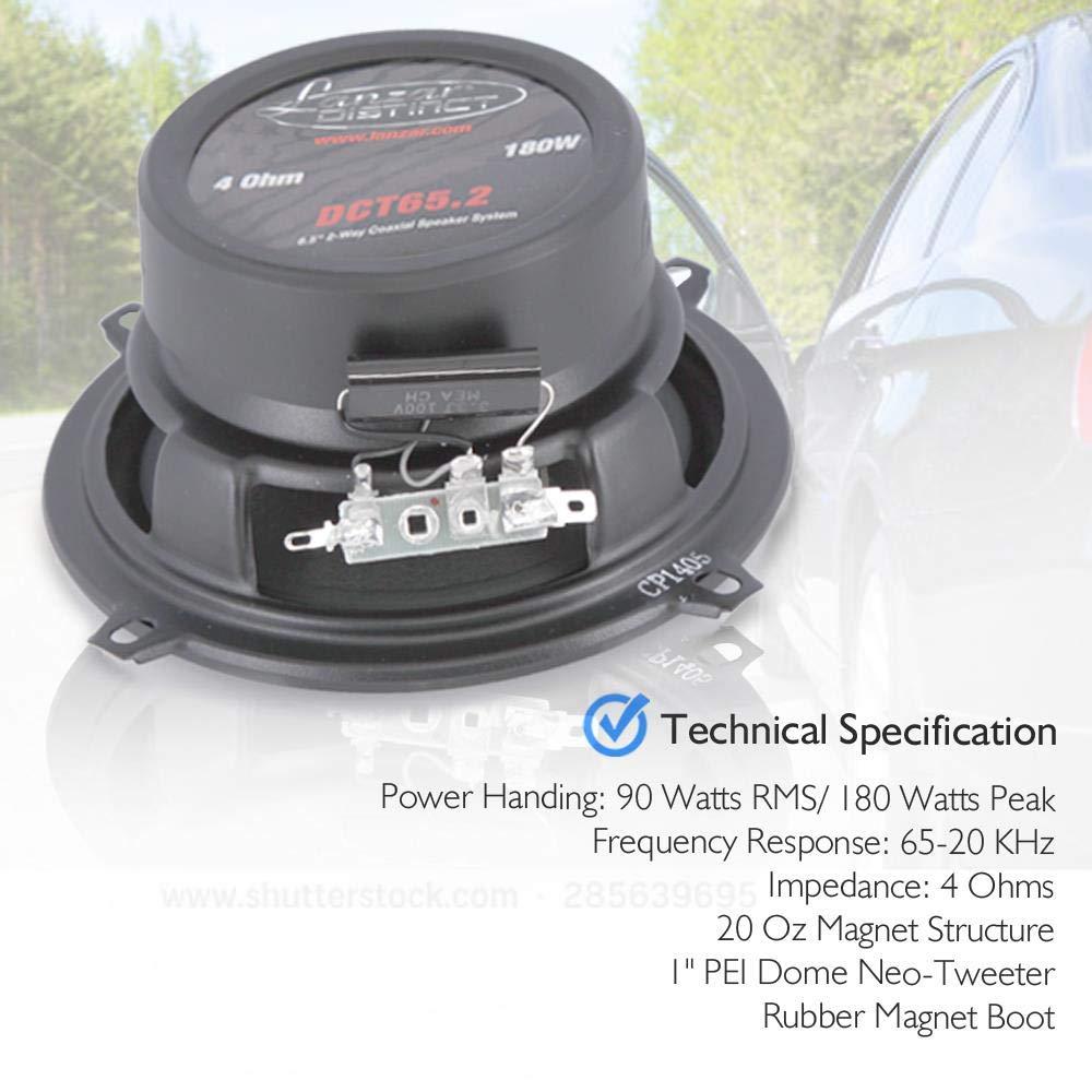 Lanzar Distinct 5.25 -In Car Stereo Speaker Pair 5.25 inch 2-Way Pro Audio Component Car Speakers 160 Watt Sound Around DCT5.2