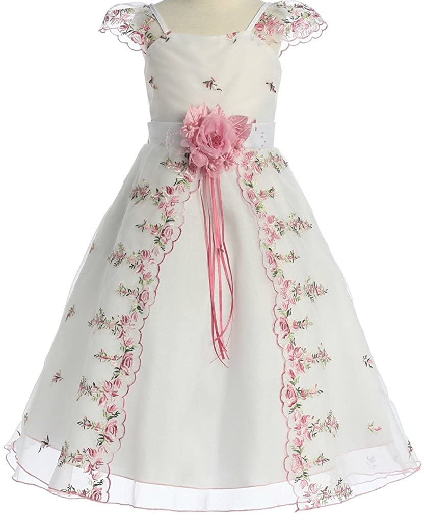 Kids 1950s Clothing & Costumes: Girls, Boys, Toddlers AkiDress Capped Sleeves Embroidery Flower Girl Dress for Little Girl $42.00 AT vintagedancer.com