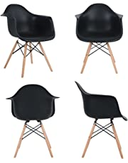 Ajie Inspire DAW Chaise - Noir - Lot de 4 Chaise Salle à Manger Lounge Fauteuil de Bureau Jambe de Bois de hêtre Massif
