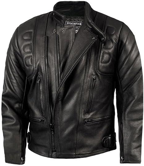 Skintan Ce Armoured Mens Leather Motorcycle Jacket Amazon Co Uk