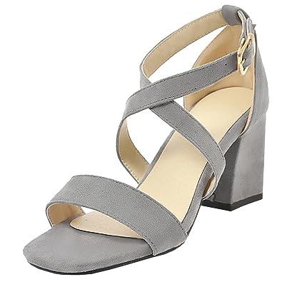 8582c44a2ec0 Artfaerie Damen High Heels Offen Sandalen mit Schnalle und Riemchen Dicker  Absatz Pumps Elegante Schuhe