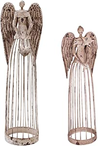 E-view Antique Metal Angel Garden Statue - Weather Resistant Indoor Outdoor Sculptures Yard Lawn Patio Art Decor Guardian Angel for Mother (Angel Family A)