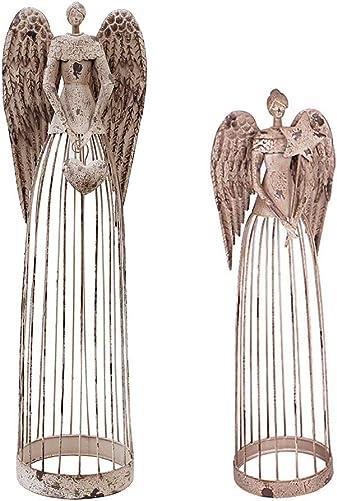 Antiqued Metal Garden Angel Statue Set of 2