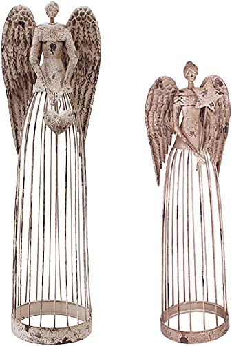 Attraction Design Antiqued Metal Garden Angel Statue Set of 2