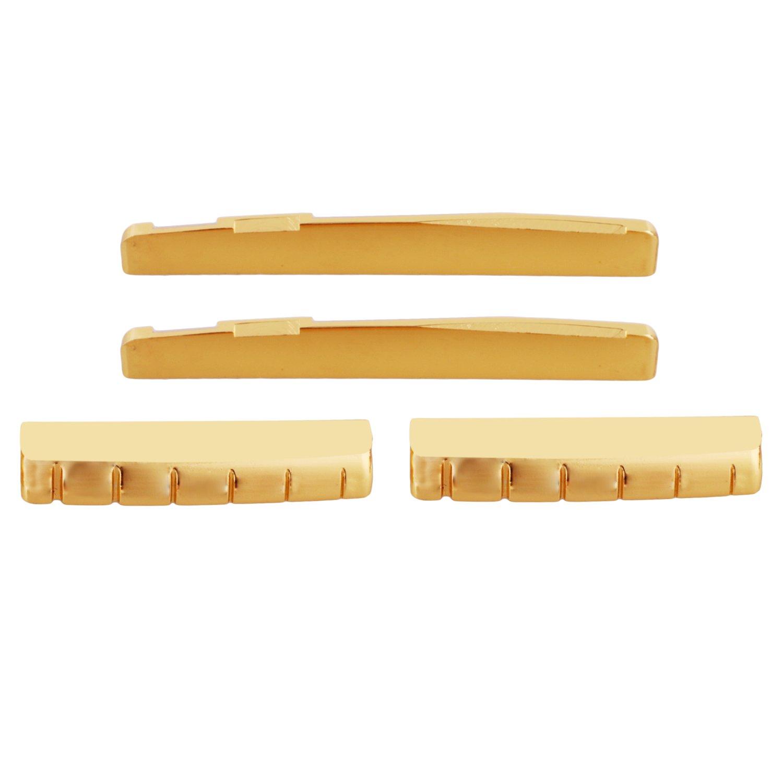 74mm Bridge Saddle & 43mm Nut Gold Brass 6-String Guitar Bridge Saddle Nut for Folk Guitar Set of 2