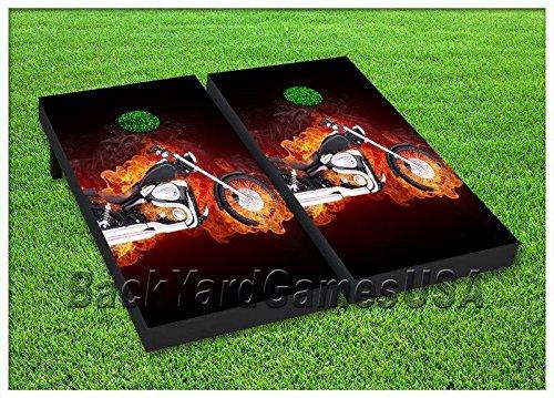 Motorcycle Cornhole Beanbag Toss Game WバッグHarleyバイカー炎Gift Idea st142   B06ZZ27NVV