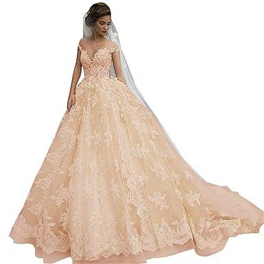 fdc3a7c52cc Vintage Lace Bridal Gowns Off Shoulder Princess Illusion Jewel Neck Wedding  Dresses for Bride 2019 Champagne