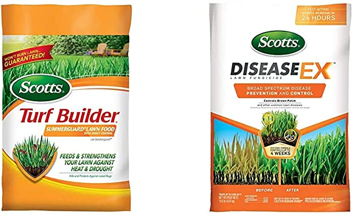 Scotts Turf Builder Lawn Food - Summerguard with Insect Control, 15,000-sq ft (Lawn Fertilizer Plus Insect Control) (Not Sold in Pinellas County, FL) & DiseaseEx Lawn Fungicide 5M, 10 lb