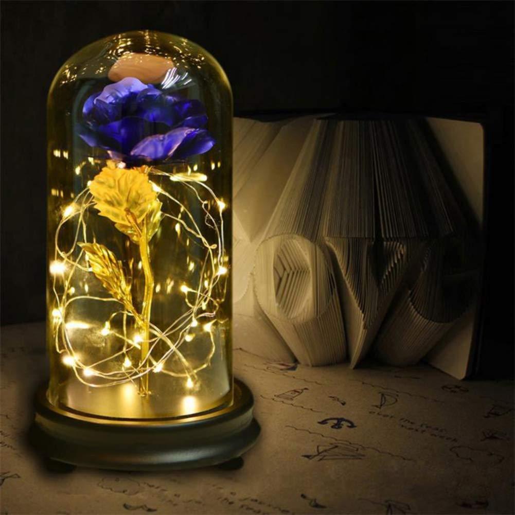 Qianren メタルローズ ガラスドーム付き ライトゴールドローズフラワー 永遠 人工ローズ ベース付き ブルー QRE-HD2141-L B07KT3LBKW ブルー