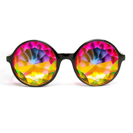 fe63b0afaaa2 Xtra Lite Black Kaleidoscope Glasses Lightweight Glass Crystal EDM Festival  Diffraction