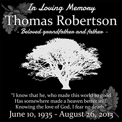 (Lazzari Collections Custom Made Personal Memorial 12x12 Inch Engraved Black Granite Grave Marker Headstone TR1)