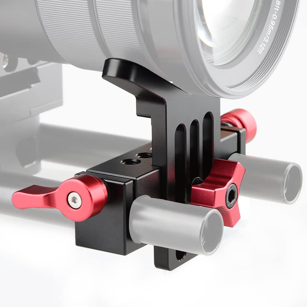 CAMVATE Lens Support 15mm Rod Clamp Rail Block for DSLR Rig Rod Support Rail System(RED