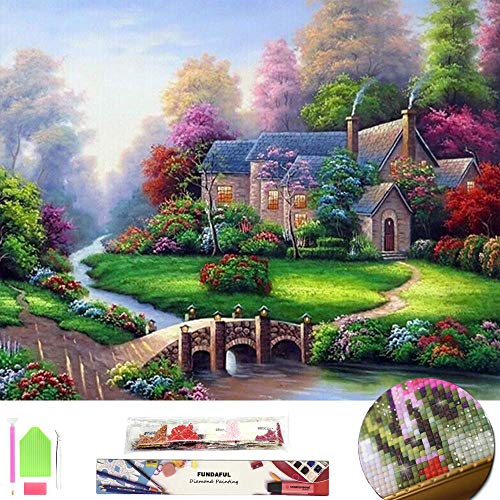 Large 5D Diamond Painting Kit for Adults, Full Square Drill Embroidery Cross Stitch Crystal Rhinestone Mosaic Making Home Decor Christmas Gift Spring Landscape Cottage Art Craft (Summer Scenery)