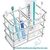 I&HE Premium Bathroom Toothbrush Holder 5 Slots Stainless Steel Bathroom Toothbrush Organizer - Multi-Function…