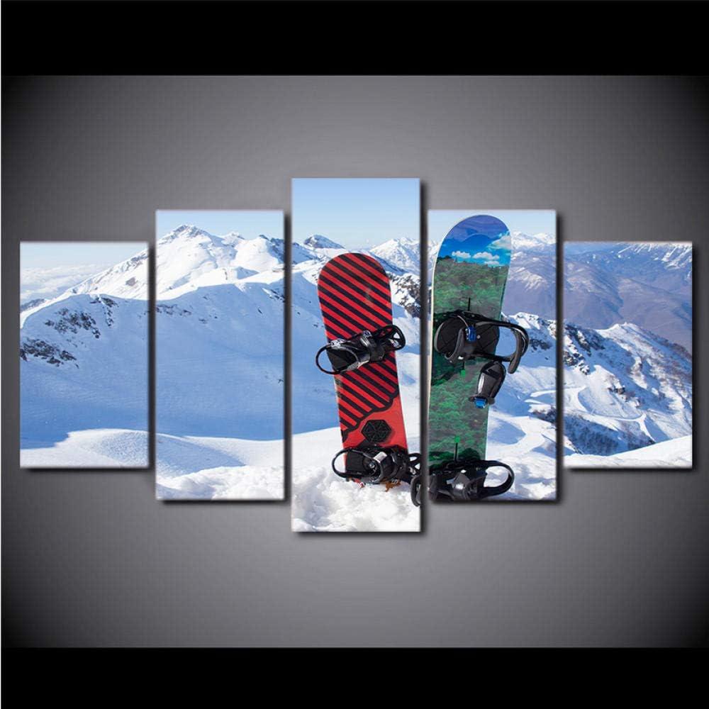 WANGJRU Painting Poster Hd Printed 5 Pieces Sunrise Ice Mountain Skiing Canvas Snowboard Home Decor Wall Art Modular Picture@Wk30X50X2 30X70X2 30X80Cm