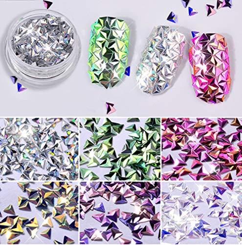 - Nail Art & Polish Decor Kit - Laser 3D Colorful Triangle Nail Art Tip Shiny Rhinestone DIY Decoration Different Color Manicure Decors (Triangle)