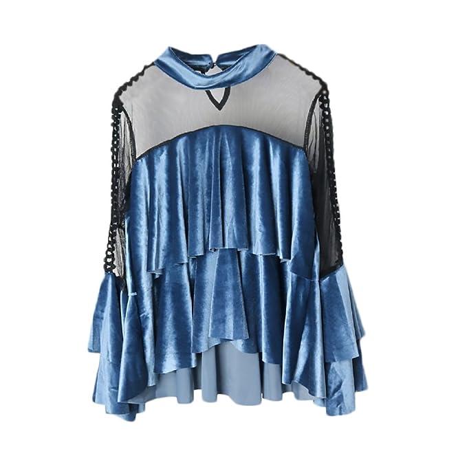 Blusas De Mujer Elegantes Manga Larga Stand Cuello Camiseta Transparente Malla Splice Fiesta Estilo Terciopelo Volantes