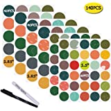 Nardo Visgo Colored Chalkboard Labels:140 Round Stickers + 2 Chalk Markers-Waterproof Removable Chalkboard Stickers,Perfect for Mason Jars Pantries Crafts and Offices