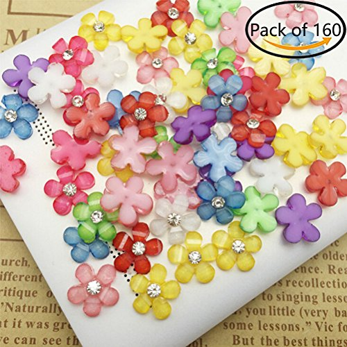 160 Pcs Resin Flowers Embellishments Cabochons DIY Hand Craft Accessories (All) (Accessories Resin)