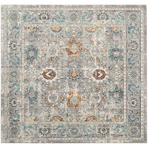 Safavieh Mystique Collection MYS924R Vintage Watercolor Grey and Multi Square Distressed Area Rug (6