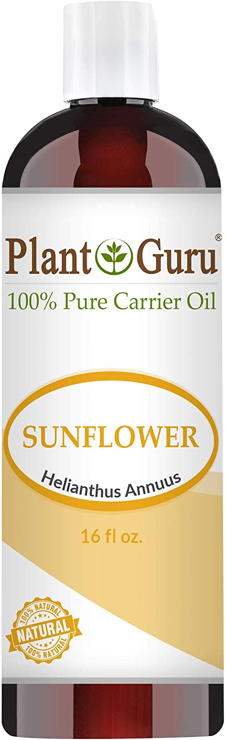 Sunflower Oil 16 oz Cold Pressed Carrier 100% Pure Natural For Skin, Body, Face, and Hair Growth Moisturizer. Great For Creams, Lotions, Lip balm and Soap Making