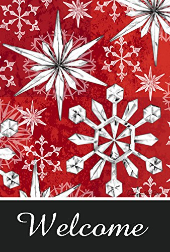 Toland Home Garden Snowflake Salutations 28 x 40 Inch Decorative Winter Snow Welcome House - 1978 Glass Crystal