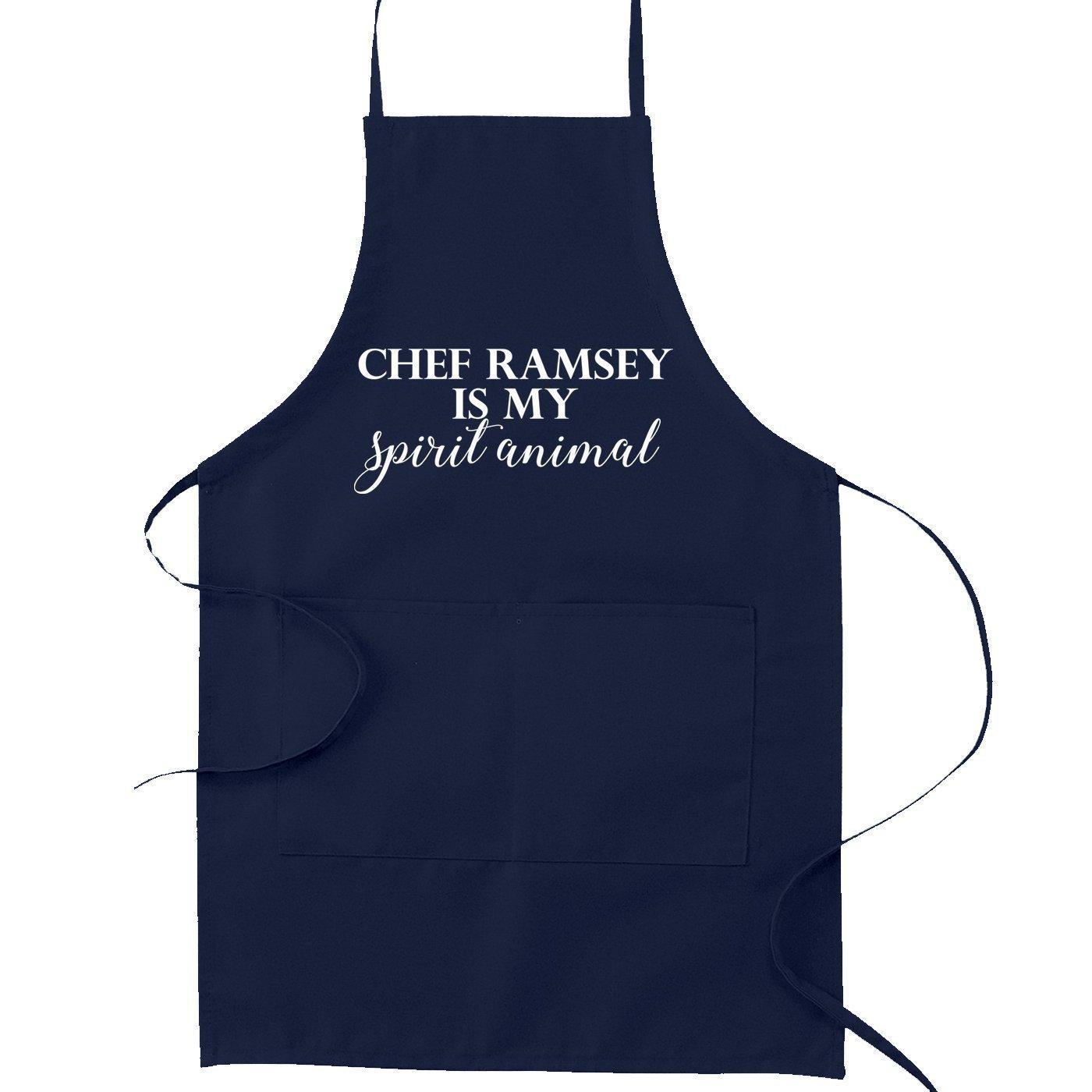 シェフRamsey is my spirit動物おかしいパロディCooking Bakingキッチンエプロン OneSize ブルー SP-00095KA-NB  ネイビーブルー B01NB1CSBE