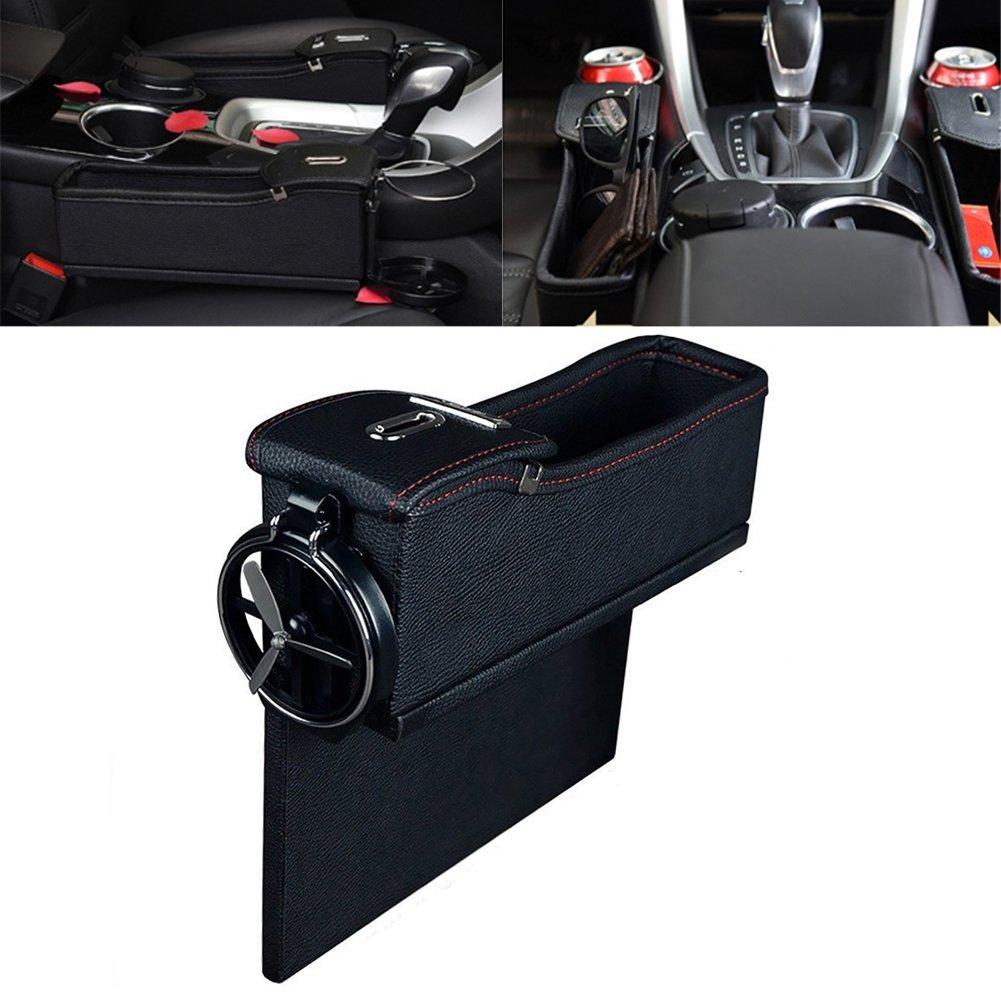 Car seat side slit Pockets Coin Catcher Car Drink Holder Car Slash Pockets PU Leather Car Seat Organiser With Drinks Holder in Luxury Design (Black) Dubens® DUBENS®