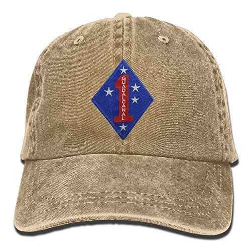 Marine Corps First Division Embroidery Denim Dad Cap Baseball Hat Adjustable Sun Cap (Marine Hat Division)