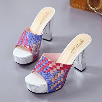 fd529ed058988 summer new fashion tassel cover women peep toe slides mixed color ...