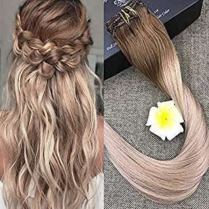 """Full Shine 24"""" 7 Pcs 140 Gram Per Package Ombre Balayage Remy Clip-in Hair Extensions Best Hair Clip On Extensions Human Hair Colour 5 Fading to #20 and #24"""