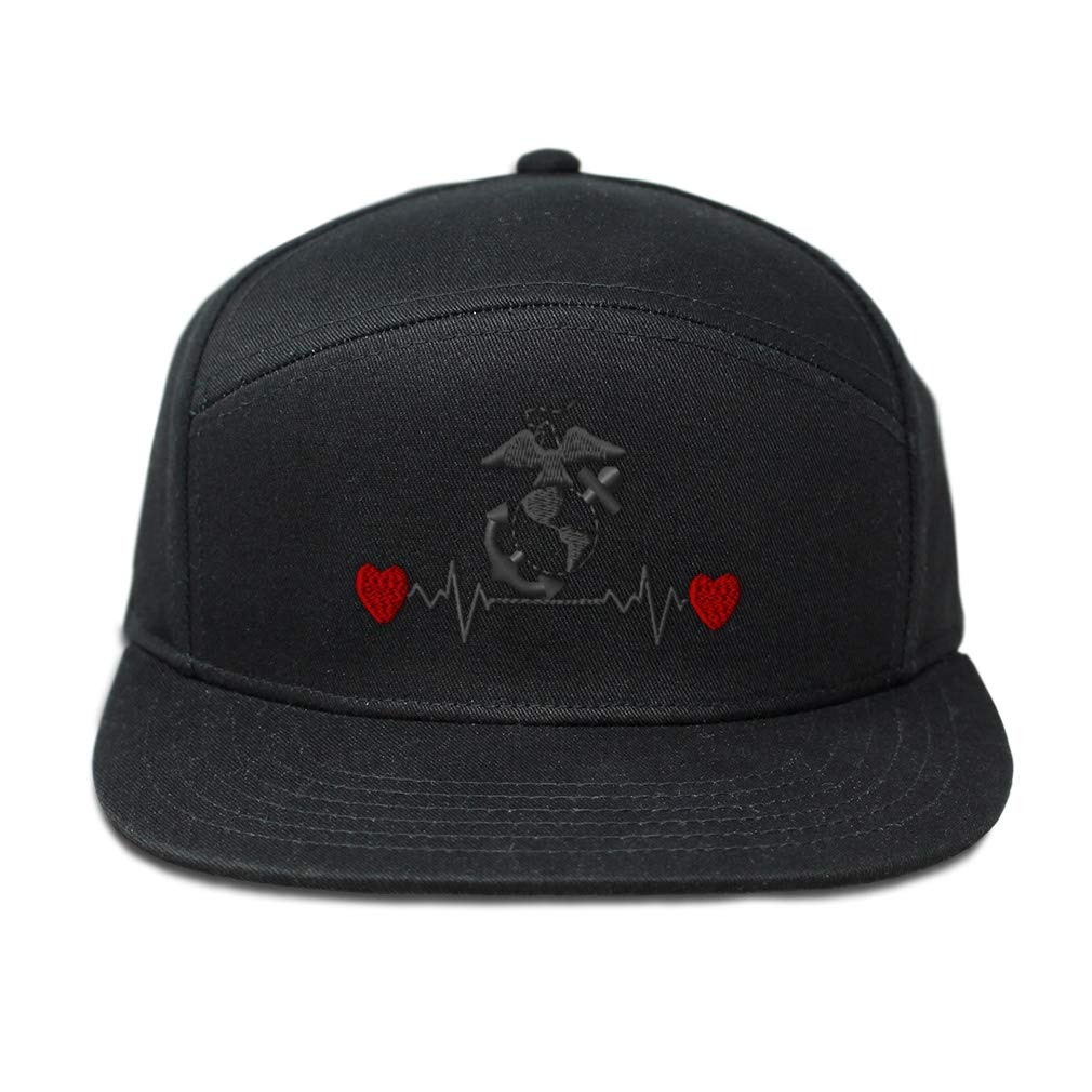 Snapback Hats for Men /& Women Marines Lifeline B Embroidery Cotton Black