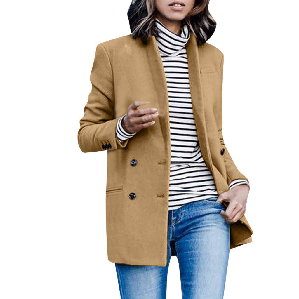 Womens Blazer Tops Jacket Open Front Cardigan Casual Solid Color Long Sleeve Office Blouse Autumn Outwear Overcoat SIN+MON Khaki