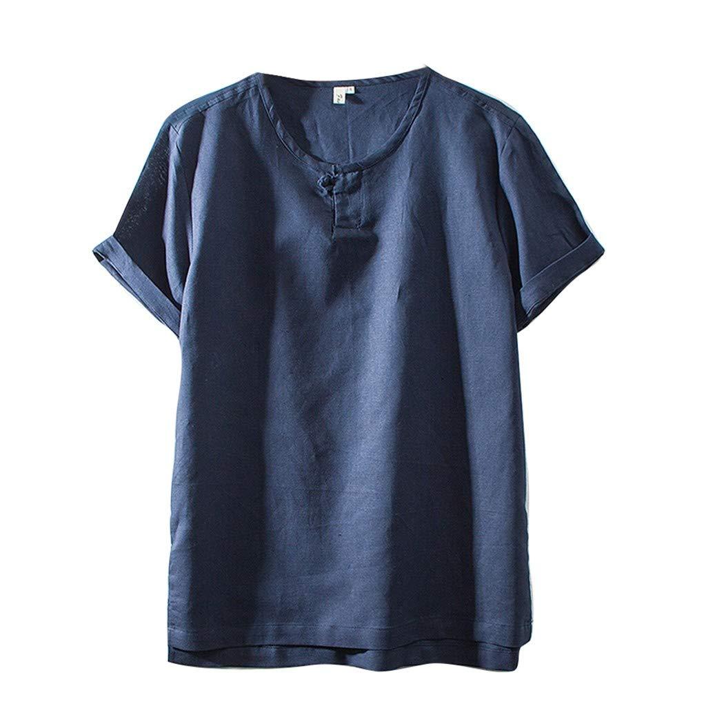 Sharemen Mens Casual Linen Shirt Tronet Summer Fashion Cotton Linen Solid Color Short (Navy,L)