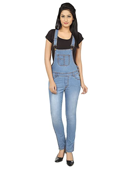 18c9456c8cc3 Ursense Women s Medium Blue Dungaree  Amazon.in  Clothing   Accessories