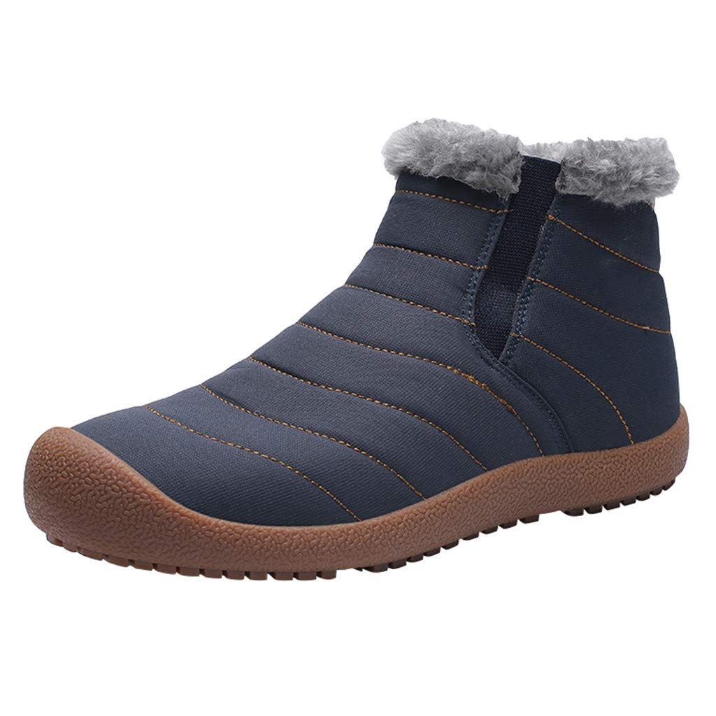 【MOHOLL】 Men Women Slip On Waterproof Outdoor Anti-Slip Fur Lined Ankle Snow Boots Plus Velvet Hiking Shoes by ✪ MOHOLL Shoes ➤Clearance Sales