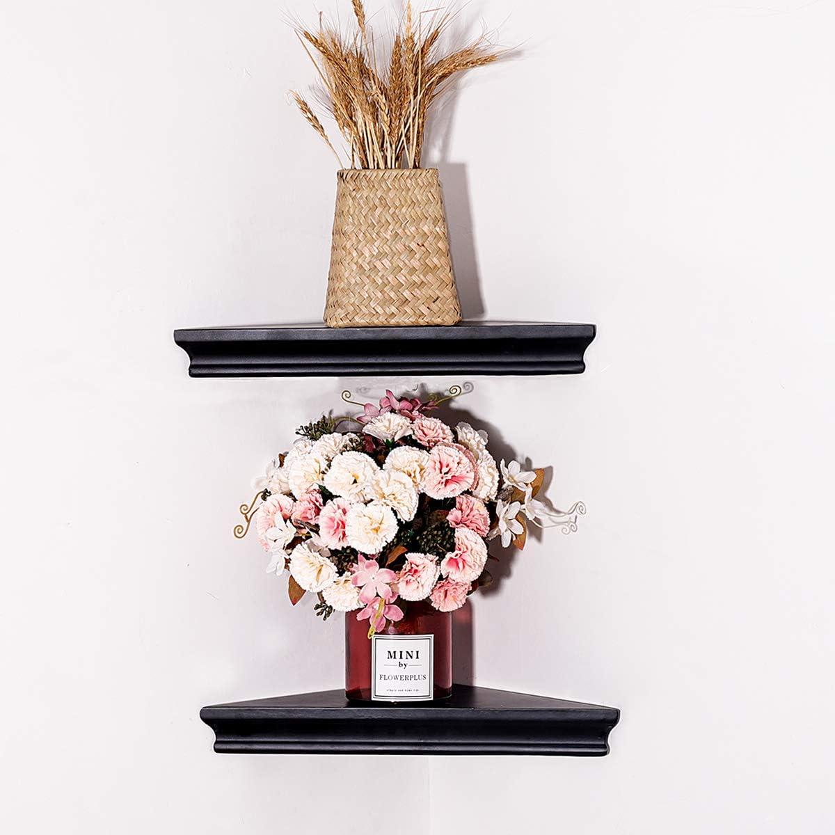 UMICAL Black Corner Floating Shelf Modern Style Wood Floating Shelves Organizer Displays Storage Wall Shelf Home Decor for Living Room, Bedroom, Kitchen, Set of 2
