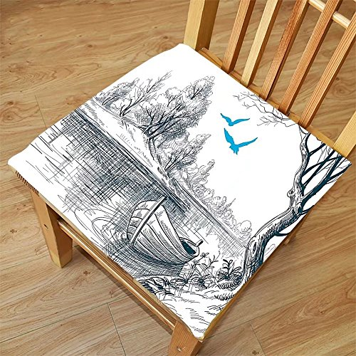 Nalahome Set of 2 Waterproof Cozy Seat Protector Cushion Lake House Decor Boat On Calm River Trees Birds Twigs Sketch Drawing Clipart Water Minimalistic Petrol Blue White Printing Size - Sunglasses Drawing Step Step By