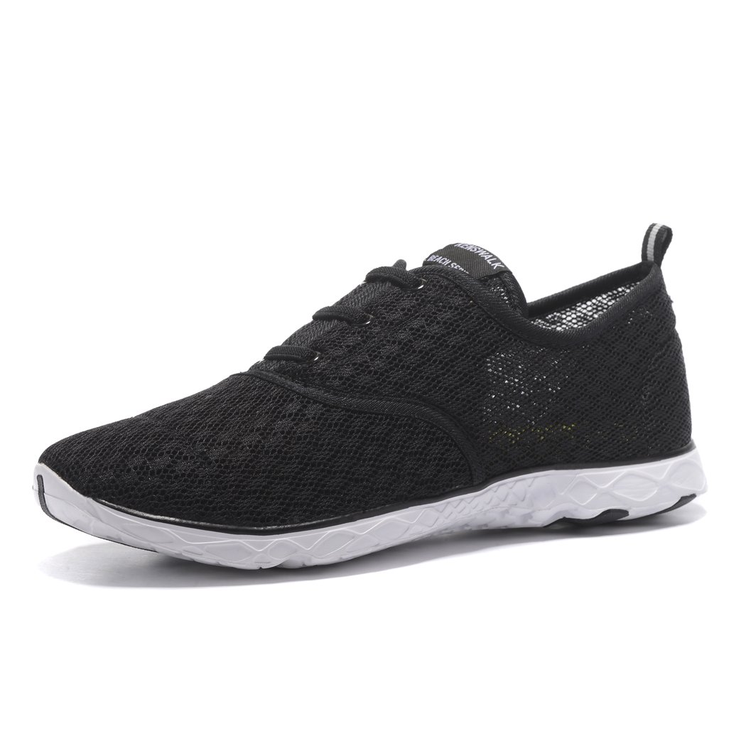 Kenswalk Women's Aqua Water Shoes Lightweight Slip On Walking Shoes (6 B(M) US, Black White)