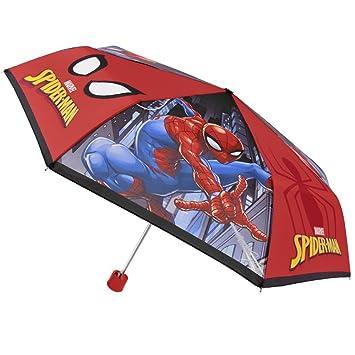 Perletti Marvel Spiderman - Paraguas plegable para Niño, Mini Paraguas resistente ligero y antiviento con
