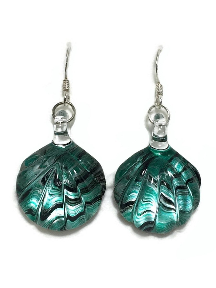 Mr_air_thai_Glass_Earring Sterling Earring Hand Blown Shell Crystal Dangle Earriing Fashion jewelry Silver 925 E7