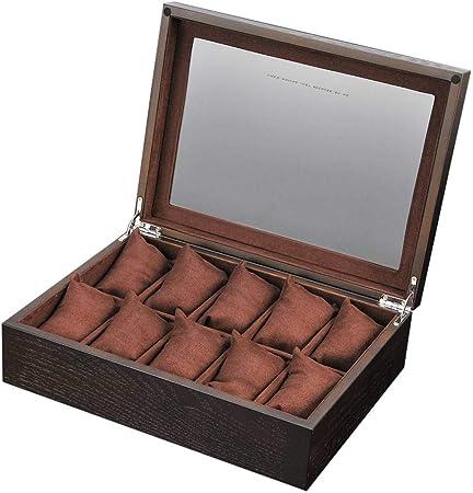 GOVD Caja Relojes Madera Hombre Estuche de Relojes 10 Compartimentos para joyero Relojes B: Amazon.es: Hogar