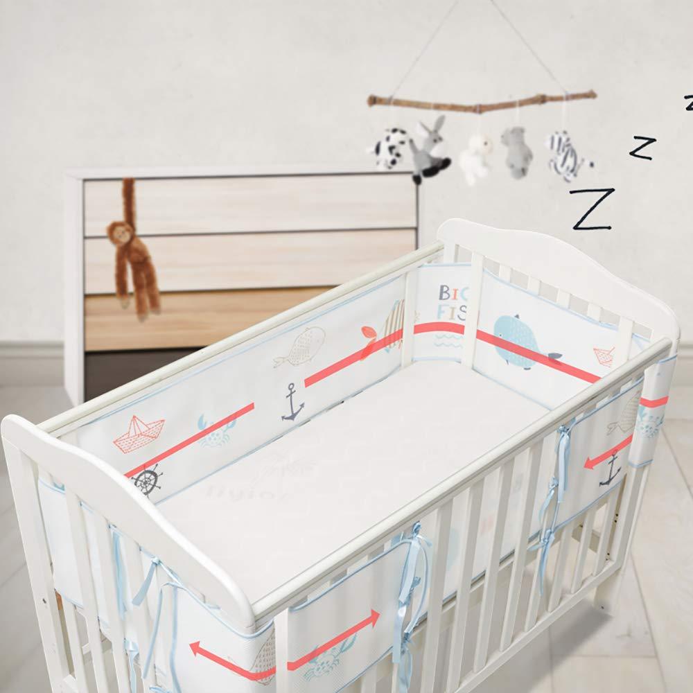 Tour de lit Bordure de protection quatre c/ôt/és pour berceau avec circulation de lair Doublure en maille