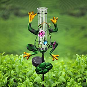 LUNSY Frog Rain Gauge Outdoor, Solar Powered, Metal Frog Shape, Plastic Tube, with 2 Feet Stake, Decorative for Yards, Garden, Lawn