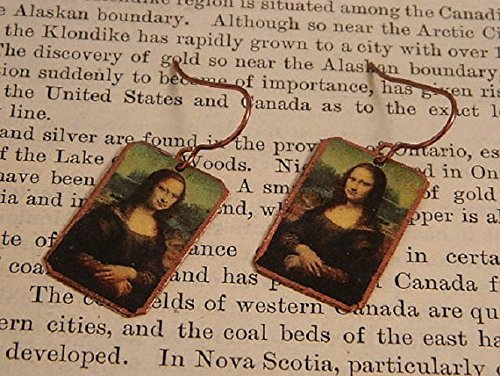 Mona Lisa earrings art earrings Da Vinci jewelry mixed media jewelry
